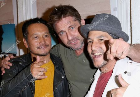 "Takuji Masuda, Gerard Butler, Christian Hosoi. Takuji Masuda, from left, Gerard Butler and Christian Hosoi arrive at the LA Premiere of ""Bunker77"", in Santa Monica, Calif"