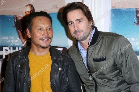 "Takuji Masuda, Luke Wilson. Takuji Masuda, and Luke Wilson arrive at the LA Premiere of ""Bunker77"", in Santa Monica, Calif"