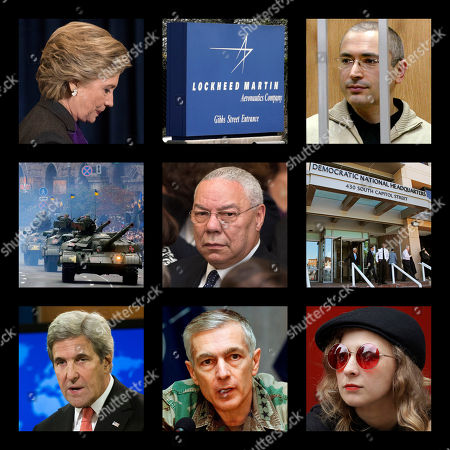 Stock Picture of This combination of photos shows, top row from left, Hillary Clinton, the logo of the defense contractor Lockheed Martin, and former Russian oil tycoon Mikhail Khodorkovsky; middle row from left, tanks at a military parade in Kiev, Ukraine, former U.S. Secretary of State Colin Powell and the Democratic National Committee headquarters in Washington; bottom row from left, former Secretary of State John Kerry, former NATO Supreme Commander Wesley Clark and Maria Alekhina of the Russian punk band Pussy Riot. These people and organizations were among the thousands targeted by the hacking group Fancy Bear, which disrupted the 2016 U.S. presidential election. Fancy Bear had ambitions well beyond Clinton's campaign, according to a previously unpublished digital hit list obtained by The Associated Press