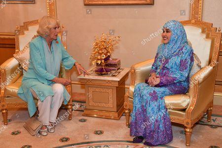 Camilla Duchess of Cornwall with Queen Saleha of Brunei at Istana Nurul Iman
