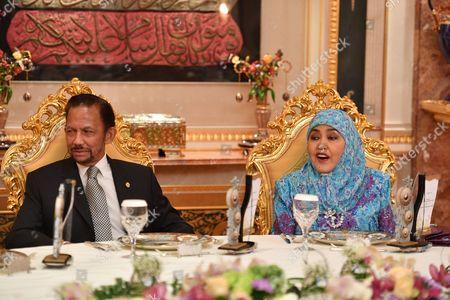 The Sultan of Brunei and Queen Saleha of Brunei at Istana Nurul Iman