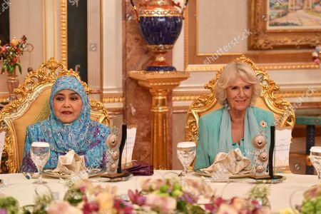 Queen Saleha of Brunei and Camilla Duchess of Cornwall at Istana Nurul Iman