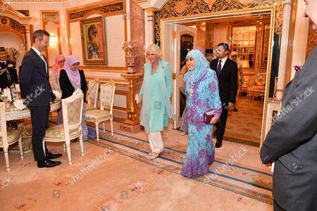 Camilla Duchess of Cornwall and Queen Saleha of Brunei at Istana Nurul Iman