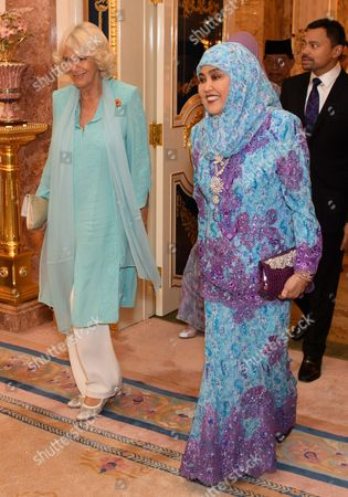 Stock Image of Camilla Duchess of Cornwall and Queen Saleha of Brunei at Istana Nurul Iman