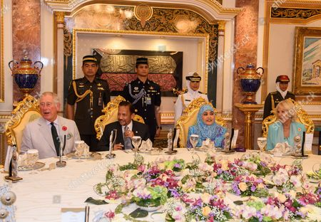 Stock Picture of Prince Charles, the Sultan of Brunei, Queen Saleha of Brunei and Camilla Duchess of Cornwall at Istana Nurul Iman