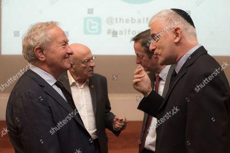 Simon Schama with Ambassador Daniel Taub, and (behind) Sir Trevor Chinn with Ambassador David Quarrey.