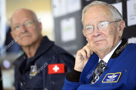 Editorial photo of Swiss Astronaute Claude Nicollier attends a press conference of Swissappolo, Crissier, Switzerland - 02 Nov 2017