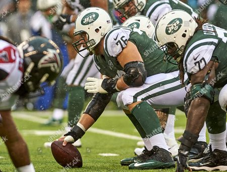 East Rutherford, New Jersey, U.S. - Jets' center Wesley Johnson (76) during NFL action between the Atlanta Falcons and the New York Jets at MetLife Stadium in East Rutherford, New Jersey
