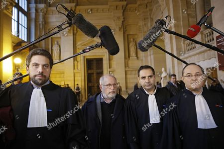 (L-R) Victims lawyer Patrick Klugman, father of victims Samuel Sandler, the lawyer of the Sandler family Elie Korchia, and the lawyer of an injured victim Ariel Goldmann walk inside the Paris Court ahead of the announcement of the verdict against Abdelkader Merah in Paris, France, 02 November 2017. Abdelkader Merah is suspected of helping his brother Mohammed Merah to plan the 2012 attacks. In March 2012 Merah allegedly killed children and a rabbi during a shooting spree at 'Ozar Hatorah' Jewish school, as well as three French soldiers.
