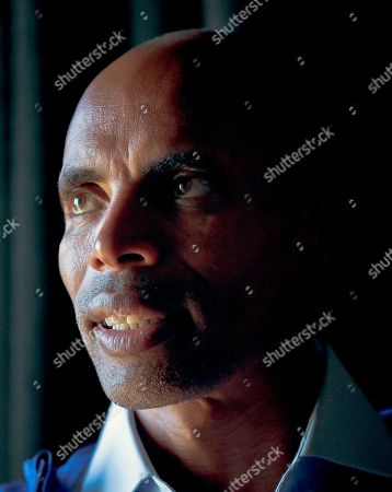 Marathoner Meb Keflezighi pose after a press conference for the 2017 TCS New York City Marathon, in New York. Keflezighi, the face of American long-distance running, wraps up his marathon career where it began in 2002 on the multicultural streets of New York