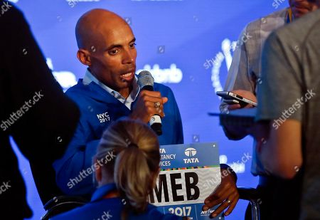 Marathoner Meb Keflezighi speaks during a press conference for the 2017 TCS New York City Marathon, in New York. Keflezighi, the face of American long-distance running, wraps up his marathon career where it began in 2002 on the multicultural streets of New York