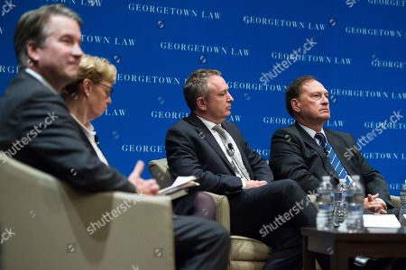From left, Judge Brett Kavanaugh, U.S. Court of Appeals, D.C. Circuit; Judge Debra Livingston, U.S. Court of Appeals, Second Circuit Supreme Court; Judge David Barron, U.S. Court of Appeals First Circuit; and Justice Samuel Alito participates in the opening panel of Georgetown Law Journal's annual symposium, in Washington