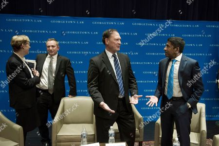 Supreme Court Justice Samuel Alito, center, talks with Judge Sri Srinivasan, U.S. Court of Appeals, D.C. Circuit, right, while Judge Debra Livingston, U.S. Court of Appeals, Second Circuit and Judge David Barron, U.S. Court of Appeals First Circuit, left, talk after they participated in the opening panel of Georgetown Law Journal's annual symposium, in Washington