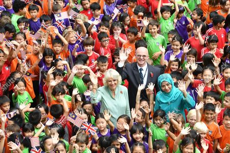 Stock Picture of Camilla Duchess of Cornwall and Raja Zarith Sofiah at The International School Parkcity