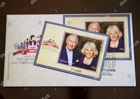 Set of commemorative stamps featuring Camilla Duchess of Cornwall and Prince Charles to celebrate 60 years of bilateral relations. Photo on stamp by Mario Testino
