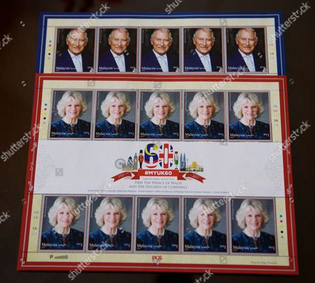 Set of stamps featuring Camilla Duchess of Cornwall and Prince Charles to celebrate 60 years of bilateral relations. Photo on stamp by Mario Testino