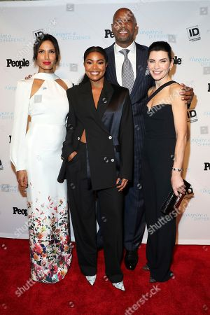 Padma Lakshmi, Gabrielle Union, Alonzo Mourning, Julianna Margulies. 2017 honorees, Padma Lakshmi, from left, Gabrielle Union, Alonzo Mourning and Julianna Margulies arrive to Investigation Discovery and People's Inspire a Difference Honors Event 2017 at Dream Hotel Downtown, in New York
