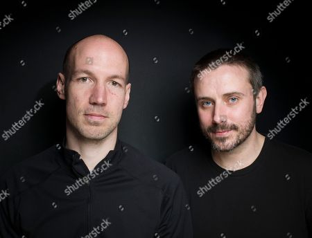 """Filmmaker/journalist Richard Rowley, left, and journalist/author Jeremy Scahill from the film """"Dirty Wars"""" pose for a portrait during the 2013 Sundance Film Festival on in Park City, Utah"""
