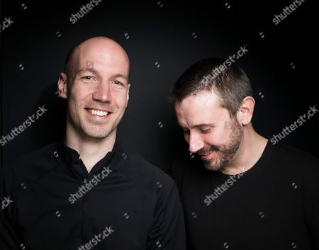 """From left, filmmaker/journalist Richard Rowley and journalist/author Jeremy Scahill from the film """"Dirty Wars"""" pose for a portrait during the 2013 Sundance Film Festival at the Fender Music Lodge on in Park City, Utah"""