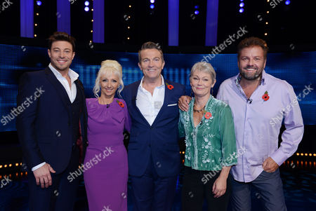 (Ep4) - (l-r) Duncan James, Debbie McGee, host Bradley Walsh, Tracy Edwards and Martin Roberts.