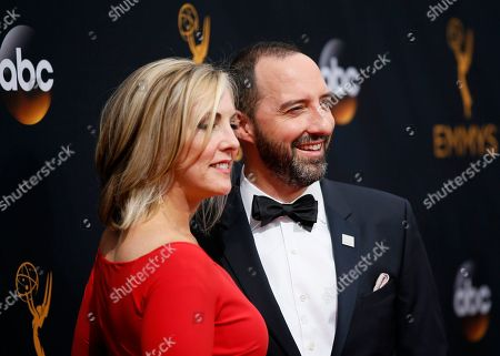Martel Thompson, left, and Tony Hale arrives at the 68th Primetime Emmy Awards, at the Microsoft Theater in Los Angeles