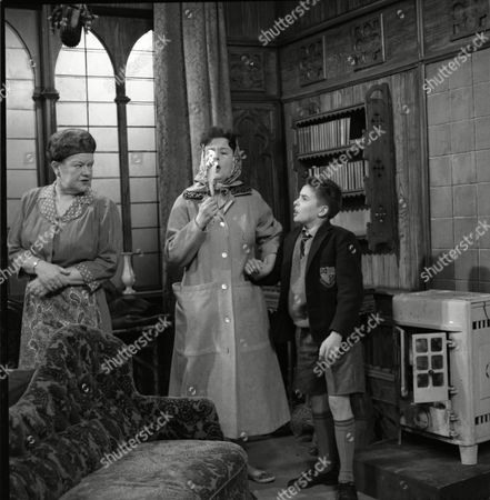 Violet Carson (as Ena Sharples), Ruth Holden (as Vera Lomax) and Davy Jones (Colin Lomax)