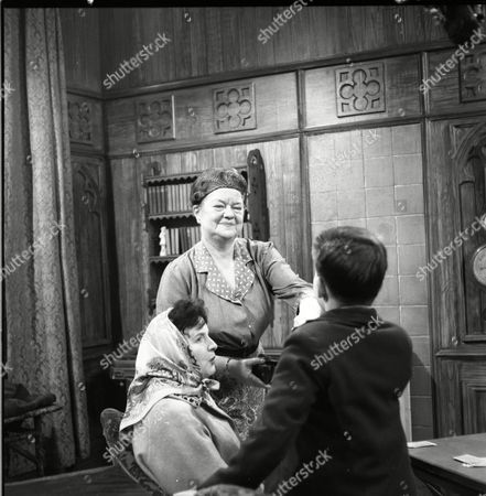 Ruth Holden (as Vera Lomax), Violet Carson (as Ena Sharples) and Davy Jones (Colin Lomax)