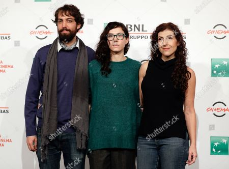 """From left, actor Pedro De Tavira, director Janus Metz and actress Karina Gidi pose for photos during the photo call of the movie """"The Eternal Feminine"""", at the 12th edition of the Rome Film Fest, in Rome"""
