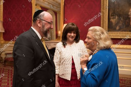 Stock Picture of Chief Rabbi Ephraim Mirvis, Valerie Mirvis, and Dame Vivien Duffield DBE.