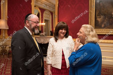 Stock Photo of Chief Rabbi Ephraim Mirvis, Valerie Mirvis, and Dame Vivien Duffield DBE.