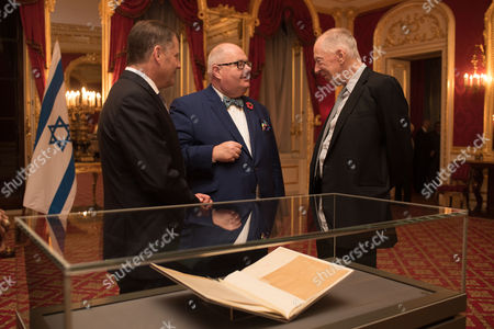 Lord Jonathan Kestenbaum, Eric Pickles and Lord Jacob Rothschild with the original Balfour Declaration.