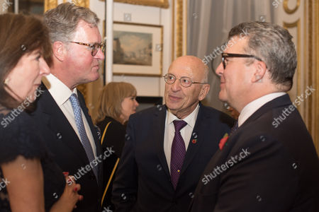 Stock Picture of Lord Roderick Balfour and Lady Tessa Balfour, with Sir Trevor Chinn and Tom Watson the Deputy Leader of the Labour Party.