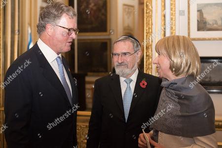 Lord Roderick Balfour with Rabbi Lord Jonathan Sacks and Lady Elaine Sacks.