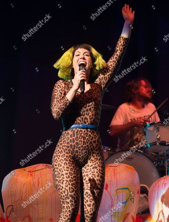 """Hannah Hooper of the band Grouplove performs in concert as the opening act for Imagine Dragons during their """"Evolve Tour"""" at The Wells Fargo Center, in Philadelphia"""