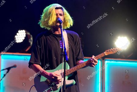 "Christian Zucconi of the band Grouplove performs in concert as the opening act for Imagine Dragons during their ""Evolve Tour"" at The Wells Fargo Center, in Philadelphia"