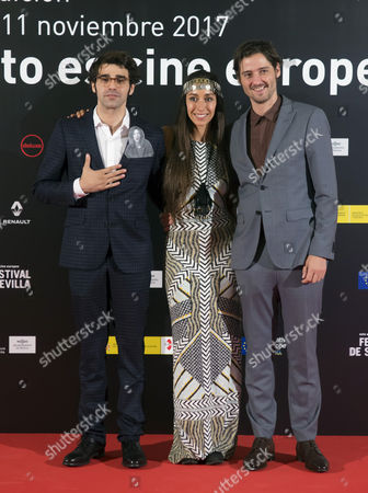 (L-R) Actors David Verdaguer, actress Oona Chaplin and director and scriptwriter Carlos Marques-Marcet pose as they arrive to the Sevilla's European Cinema Festival openning gala held at the Lope de Vega theatre in Seville, southern Spain, 03 November 2017.