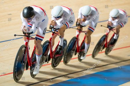 Team KGF's Dan Bigham, Charlie Tanfield, Jacob Tipper and Jonathan Wale compete in the Men's Team Pursuit qualifying.