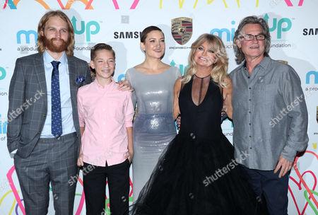 Wyatt Russell, Ryder Robinson, Kate Hudson, Goldie Hawn and Kurt Russell