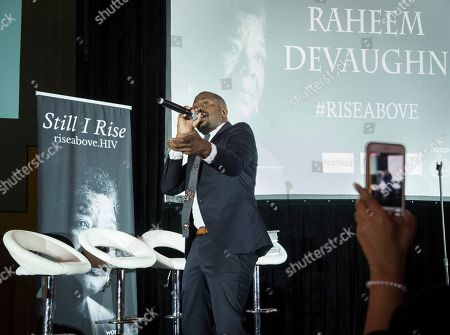 Grammy nominated R&B artist, Raheem DeVaughn gives a dynamic performance at the final RISE Above campaign event presented by AIDS Healthcare Foundation, at the Fox Theater, in Atlanta