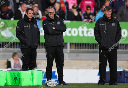 Exeter Chiefs Head Coach, Ali Hepher, Exeter Chiefs Assistant Coach, Robin Hunter and Exeter Chiefs Director of Rugby, Rob Baxter during the Anglo-Welsh Cup Round 1 match between Exeter Chiefs and Northampton Saints at Sandy Park on November 4th 2017 , Exeter, Devon (