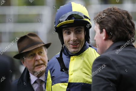Aidan Coleman with trainer Jonjo O'Neill and owner rep Jason Maguire after Go Conquer had won the Sodexo Gold Cup at Ascot.