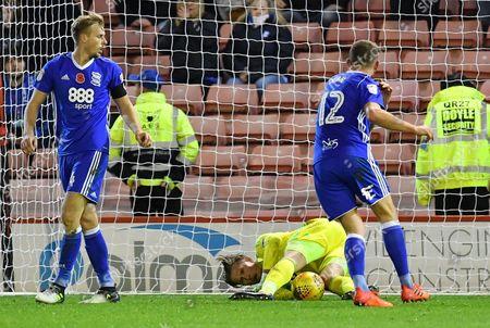Birmingham City goalkeeper Tomasz Kuszczak (29) makes save  during the EFL Sky Bet Championship match between Barnsley and Birmingham City at Oakwell, Barnsley