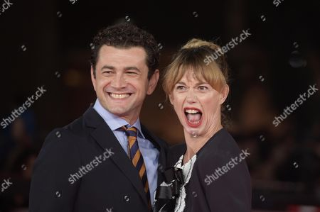 Italian actor/cast member Vinicio Marchioni (L) and his wife Milena Mancini arrive for the screening of 'The Place', at the 12th annual Rome Film Festival, Rome, Italy, 04 November 2017. The film festival runs from 26 October to 05 November.
