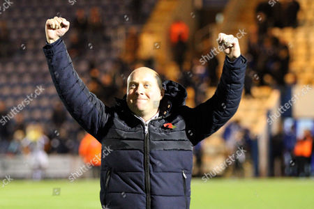Manager of Oxford City Mark Jones celebrates at full-time during Colchester United vs Oxford City, Emirates FA Cup Football at the Weston Homes Community Stadium on 4th November 2017