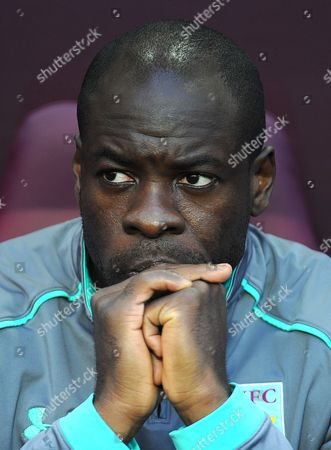 Christopher Samba of Aston Villa looks on