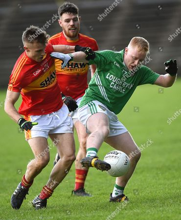 Castlebar Mitchels vs Mohill. Castlebar Mitchels' Calum Kyne and Aidan Walsh with Shane McGowan of Mohill