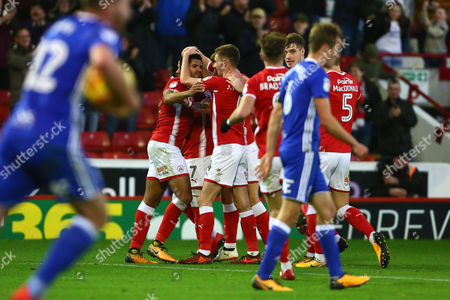 Stock Picture of Barnsley's Zeki Fryers is congratulated on scoring his sides second goal from a long range free kick which bounces through the box and past a helpless Tomasz Kuszczak of Birmingham City