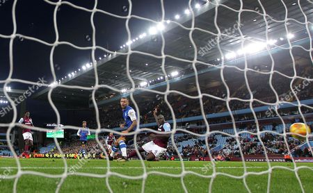 Christopher Samba of Aston Villa scores his sides first goal