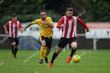Thomas Robinson of Witham chases Brad Warner of Hornchurch during AFC Hornchurch vs Witham Town, Bostik League Division 1 North Football at Hornchurch Stadium on 4th November 2017