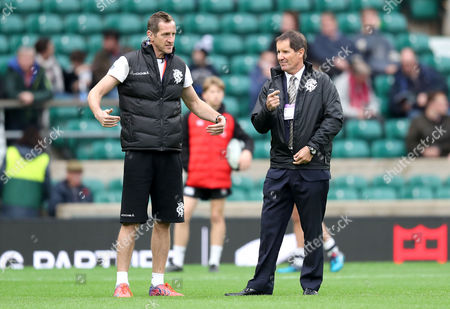 Barbarians vs New Zealand All-Blacks. Barbarians coach Will Greenwood speaks with Head Coach Robbie Deans ahead of the game